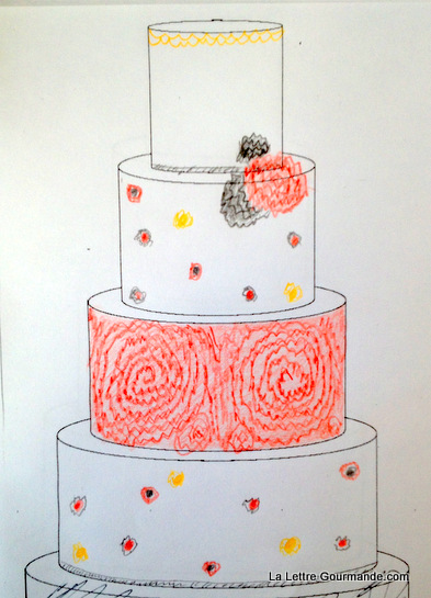 Un wedding cake rouge, noir et or, croquis