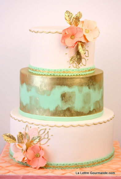 Wedding cake menthe et or